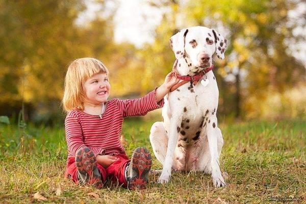 собачка и ребенок